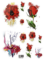 Temporary Tattoos Chest Body Flower Series Series 3D Rose Waterproof Tattoos Stickers Non Toxic Glitter Large Fake Tattoo Halloween Gift 22*15cm