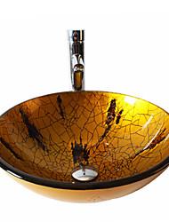 Rundförmig Material der Becken ist HartglasWaschbecken für Badezimmer Armatur für Badezimmer Einbauring für Badezimmer Wasserablass für
