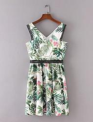 Для женщин На выход На каждый день Простое Уличный стиль Свободный силуэт Прямое Платье Цветочный принт Деревья / Листья,V-образный вырез