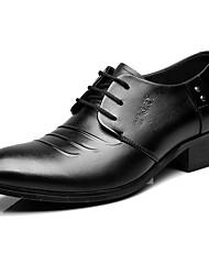 Herren Outdoor formale Schuhe Leder Frühling Herbst Normal formale Schuhe Schwarz Unter 2,5 cm