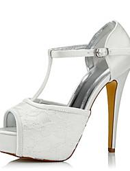 Women's Heels Comfort Silk Tulle Spring Fall Wedding Party & Evening Dress Comfort Stiletto Heel Ivory 5in & over