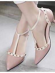 Women's Heels Basic Pump Leather Summer Casual Basic Pump Kitten Heel Blushing Pink Black 2in-2 3/4in