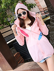 Women's Casual/Daily Simple Summer Cloak/Capes,Solid Hooded Long Sleeve Regular Polyester