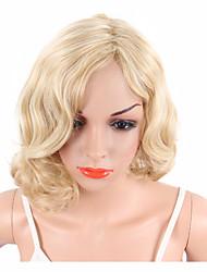 Mujer Pelucas sintéticas Sin Tapa Corto Rizado Rubio Peluca afroamericana Para mujeres de color Con flequillo Peluca natural Las pelucas