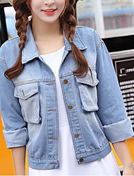 Women's Daily Modern/Comtemporary Summer Denim Jacket,Solid Shirt Collar Long Sleeve Short Others