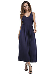 ANGELL Women's Going out Casual/Daily Simple Street chic A Line DressSolid Round Neck Midi Sleeveless Cotton Polyester Summer Mid Rise Stretchy