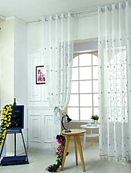 W100cm*L250cm One Pannel Curtains Flower Embroidery Sheer Shade Windows Curtain