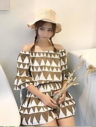 Для женщин Повседневные Лето Как у футболки Платья Костюмы Вырез лодочкой,На каждый день С принтом 1/2 Length Sleeve Слабоэластичная