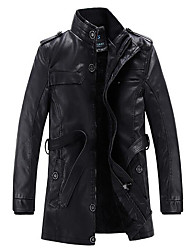 Men's Daily Casual Classic Vintage Casual Fall Winter Leather Jacket,Solid Stand Long Sleeve Long PU