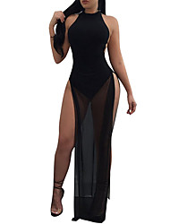 Women's Party Going out Club Sexy Simple Street chic Sheath DressPatchwork Mesh Cut Out Split Crew Neck Maxi Sleeveless Tulle Netting