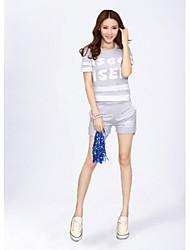 Costumes de Pom-Pom Girl Tenue Femme Spectacle Polyester 2 Pièces Manche courte Taille haute Hauts Short