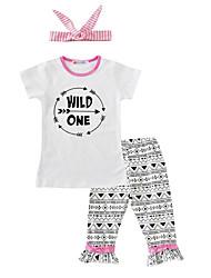 Girls' Print SetsCotton Summer Short Sleeve Clothing Set Wild One T Shirt Pants with Headband 3pcs Outfits for Kids Girls