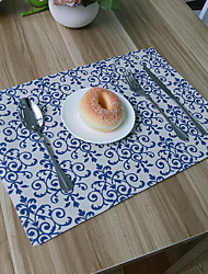 Blue And White Porcelain Chinese Classical Cotton And Linen Material Table Placemat 32*45cm