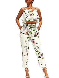 Women's Daily Ruffled Flower Straight Leg Summer Floral Strap Sleeveless Peplum Bow Ruffle Side Backless Tank Top Pant Suits