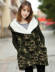 Women's Going out Casual/Daily Keep Warm Sweet Fall Winter Coat,Camouflage Hooded Long Sleeve Regular Cashmere