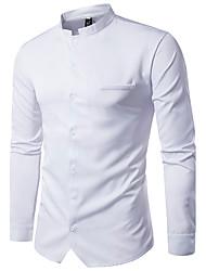 Для мужчин На каждый день Рубашка Воротник-стойка,Уличный стиль Однотонный Длинный рукав,Полиэстер