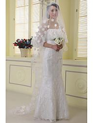 Véus de Noiva Uma Camada Véu Capela Borda com aplicação de Renda Tule