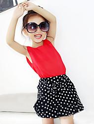 Girl's Fashion And Lovely Temperament Dot Chiffon Chiffon Blouse  Wave Points Short Skirt Two-Piece Dress