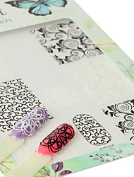 1pcs Fashion Nail Art DIY Beauty 3D Sticker Beautiful Flower Black&White Design Charming Manicure Decoration BP238