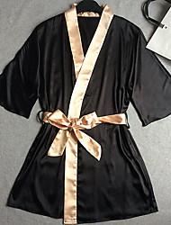 Robe de chambre Satin & Soie Vêtement de nuit Femme,Sexy Rétro Couleur Pleine