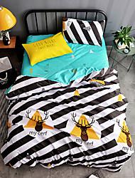 Ensembles housse de couette Animaux 4 Pièces Polyester/Coton Imprimé Polyester/Coton (1 seule taie pour tous lits jumaux)