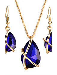 Fashion Elegant Multicolor Water Drop Crystal Jewelry Sets For Women Party Wedding Statement Jewelry Pendent Necklace Chandelier Earrings