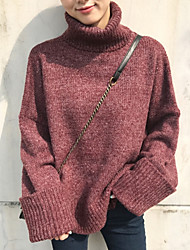Women's Casual/Daily Regular Pullover,Solid Turtleneck Long Sleeves Cotton Spring Medium Micro-elastic