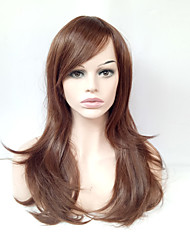 Middle Long Natural Straight Wig Light Brown Glueless Synthetic Wigs for European Women