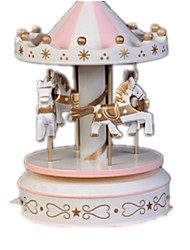 Music Box Carousel Plastics Wood