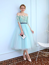 Ball Gown Princess Off-the-shoulder Tea Length Tulle Graduation Cocktail Party Dress with Beading Lace by MMHY