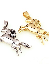 New European and American hot men titanium steel stainless steel gold / silver horse fall necklace jewelry meaning success