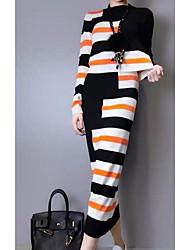 Mujer Simple Casual/Diario Primavera Otoño T-Shirt Falda Trajes,Escote Redondo A Rayas Manga Larga