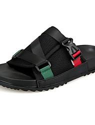 Men's Slippers & Flip-Flops Comfort Summer Tulle PU Casual Outdoor Buckle Flat Heel Black Green Flat