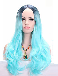 Black Roots Ombre Light Blue Long Wavy Synthetic Wig High Temperature Heat Resistant For Black Women