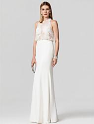 Trompeta / Sirena Joya Hasta el Suelo Raso Encaje Evento Formal Vestido con Botones Detalles con Perlas por TS Couture®