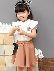 Girls' Solid Sets,Cotton Polyester Summer Short Sleeve Clothing Set