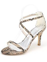 Для женщин Сандалии Обувь через палец Весна Лето Дерматин Для праздника Для вечеринки / ужина Животные принты Молнии На шпилькеБелый