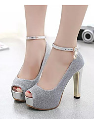 Damen High Heels Komfort Pumps Echtes Leder PU Frühling Sommer Normal Silber Purpur 10 - 12 cm