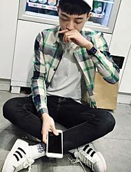 Men's Casual/Daily Simple Shirt,Check Shirt Collar Long Sleeves Cotton
