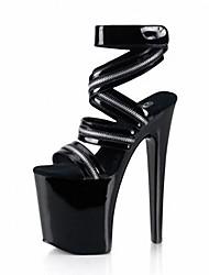 Damen Sandalen formale Schuhe PU Sommer Kleid Party & Festivität Reißverschluss Klettverschluss Stöckelabsatz Schwarz 12 cm & mehr