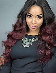 Ombre T1B/99J Brazilian Virgin Hair Wigs Body Wave Lace Front Human Hair Wigs Virgin Remy Hair Wig with Baby Hair