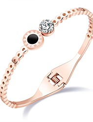 Japanese and south Korean edition of fashion - plated rose gold Roman numeral bracelet female 100 - match simple hollowed-out titanium steel bracelet