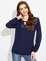 Feminino Camiseta Casual Simples / Moda de Rua Primavera / Outono,Retalhos Azul / Branco / Preto / Verde Poliéster Decote RedondoManga