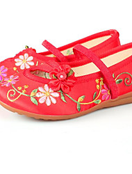 Kids' Kids' Dance Shoes Knit Cowhide Flats Sandals Practice Flat Heel Blushing Pink Ruby Fuchsia