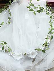 Véus de Noiva Uma Camada Véu Ruge Corte da borda Tule
