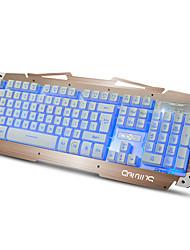 Ruyiniao m-500s metallo gioco tastiera retroilluminata tastiera 104 tasti usb cavo