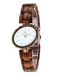 Mulheres Relógio Madeira Japanês Quartzo de madeira Madeira Banda Pendente Elegantes Luxuoso Marrom