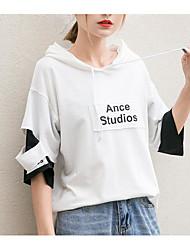 Damen Solide Buchstabe Einfach Lässig/Alltäglich T-shirt,Mit Kapuze Kurzarm Baumwolle