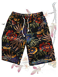 High Quality Famou HOT! S-6XL Plus Size Men's Mid Rise Micro-elastic Active Shorts PantsActive Vintage Loose Straight Floral