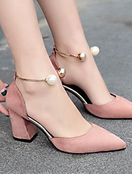 Women's Heels Basic Pump Summer Real Leather PU Casual Black Beige Blushing Pink Burgundy 4in-4 3/4in